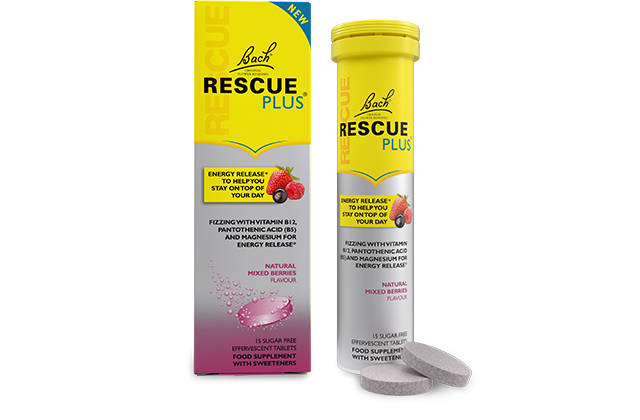 RESCUE PLUS™ Effervescent Tablets, the stress complex with B5 and B12 vitamins, magnesium, and zinc